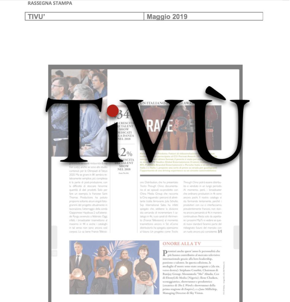 TIVU': Prodotto è l'unica azienda italiana in finale a Cannes ai C21 Awards
