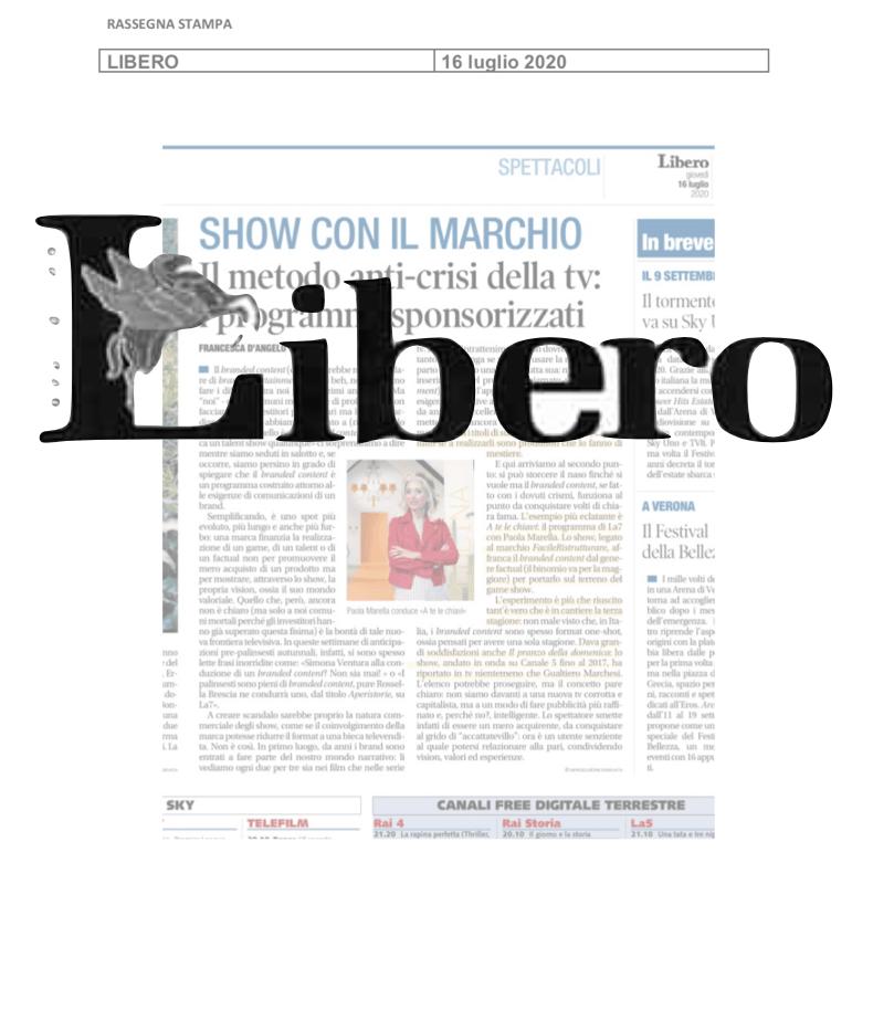 """LIBERO: Prodotto il branded entertainment """"lo fa di mestiere"""""""
